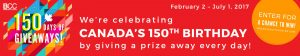 BCC – Canada's 150th Birthday – Win a prize every day for 150 days
