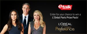 L'Oreal – etalk Red Carpet Beauty contest – Win 1 of 10 L'Oreal Paris gift bags valued at $250 CAD each
