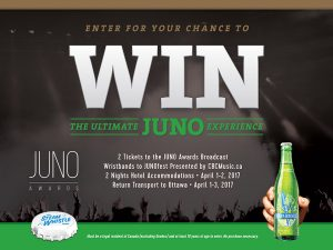 Steam Whistle – 2017 JUNO Awards – Win a trip for 2 to Ottawa, tickets and more to the JUNO Awards Broadcast