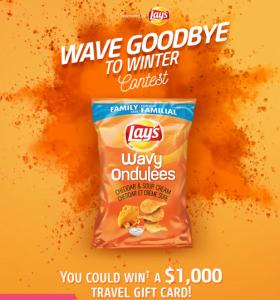 Tasty Rewards – Wavy Lay's Cheddar & Sour Cream – Win a $1,000 travel gift card
