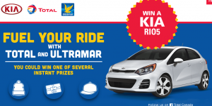 Total Canada – Fuel Your Ride With Total and Ultramar – Win a new fully equipped KIA RIO car valued at $20,000 OR 1 of 210 Instant prizes