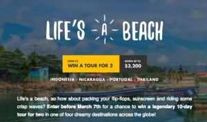 TourRadar – Win a 10-day Tour for 2 in either Indonesia, Thailand, Nicaragua OR Spain