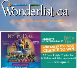 Wonderlist – The Toronto Star Wonderlist – Win a trip for 2 to Dublin, Ireland valued at $5,000 CDN