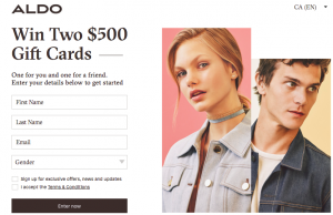 ALDO Group – Win 2 Aldo gift cards valued at $500 each