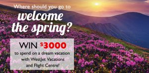 Flight Centre – Win $3,000 to spend on a dream vacation with WestJet Vacations