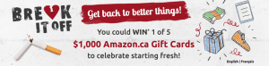Free For All Marketing – The Break It Off Trivia – Win 1 of 5 Amazon.ca online retail Gift Cards valued at $1,000 CAD each
