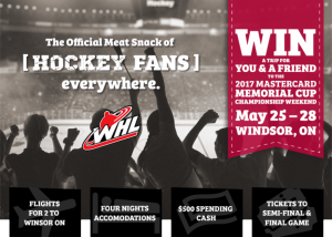 McSweeney's – Mastercard Memorial Cup – Win a trip for 2 to the 2017 MasterCard Memorial Cup Championship Weekend in Windsor Ontario