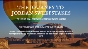 National Geographic – The Journey to Jordan – Win a trip for 2 to Jordan valued at ARV $5,200