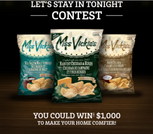 PepsiCo Canada – Miss Vickie's Let's Stay in Tonight – Win a $1,000 cash prize