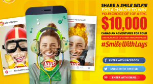 PepsiCo Canada – Share a Smile Selfie With Lay's – Win a grand prize of a trip for 4 valued at $10,000 CAD OR Daily & Weekly Prizes