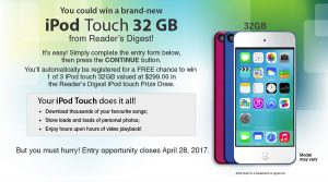 Reader's Digest Association – iPod Touch – Win 1 of 3 iPod Touch 32GB valued at $299 each