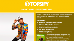 Warner Music Canada – The Bruno Mars Topsify – Win a trip for 2 to Toronto, Ontario valued at CAD $3,000
