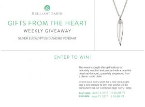 Brilliant Earth –  Gifts From the Heart – Win a silver eucalyptus diamond pendant