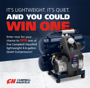 Campbell Hausfeld – Win 1 of 5 lightweight 4.6-gallon Quiet Compressor valued at USD$249 each