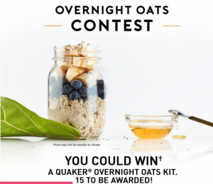 PepsiCo – Tasty Rewards – Quaker Overnight Oats – Win 1 of 15 Quaker Overnight Oats kids valued at $37 each