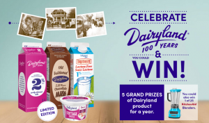 Saputo Dairy Products Canada – Celebrate 100 Years of Dairyland – Win 1 of 5 grand prizes valued at C$1,057 each OR 1 of 25 minor prizes