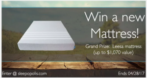 Sleep Opolis – Leesa Mattress – Win a brand new Leesa mattress valued at up to $1,070