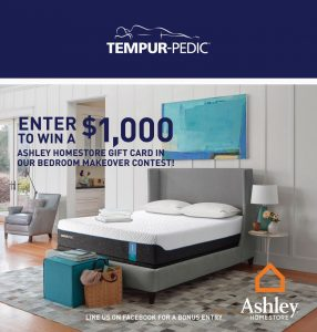 Tempur-Pedic Canada – Bedroom Makeover – Win $1,000 Ashley Furniture Homestore Gift Card valued at Ashley Furniture