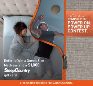 Tempur-Pedic – Win a Queen Size Mattress & a $1,000 SleepCountry gift card