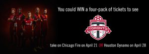 The Toronto Star Wonderlist – Toronto FC – Win 1 of 2 prizes of 4-pack of tickets to see Toronto FC vs Chicago at BMO Field