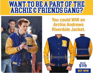 Tribute Publishing – Riverdale KJ APA Archie Jacket – Win a Mens Size Large Jacket valued at over $119 CDN