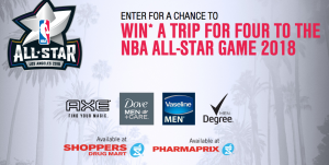 Unilever Canada – The Shoppers Drug Mart/Pharmaprix NBA All-Star Game 2018 – Win a trip for 4 to the 2018 NBA All-Star Game in Los Angeles valued at $15,000 CAD