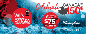 ACCO Brands Canada – 150th Anniversary – Win a $1,500 voucher for Via Rail Canada OR 1 of 6 Visa gift cards