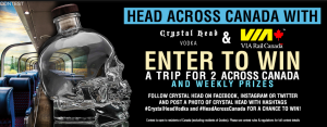 Globefill – Head Across Canada with Crystal Head Vodka and Via Rail – Win 2 round trip tickets OR 4 one way tickets OR Weekly prizes