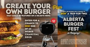 Kelseys Burger Fest – Win a trip for 2 to the Burger Festival in Calgary, Alberta OR 1 of 64 Weber Charcoal BBQs