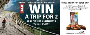 London Drugs – Clif Bar Whistler – Win a trip for 2 to Whistler Blackcomb valued at $4,000 CAD