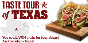 Lone Star Texas Grill, Texas Tourism – Win a trip for 4 courtesy of Air Canada from anywhere in Canada to San Antonio
