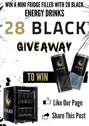 OntheGo Magazine – Win a 28 Black mini fridge filled with 24 cans of fruity 28 Black Acai & 24 cans of the energy drink
