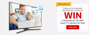 The Source (Bell) Electronics – 4K Father's Day – Win a Samsung 40″ 4K UHD Smart TV for Dad valued at $900