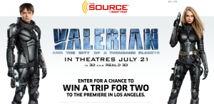 The Source – Valerian and The City of A Thousand Planets – Win a trip for 2 to Los Angeles to the premiere screening of the film valued at $4,000 CAD