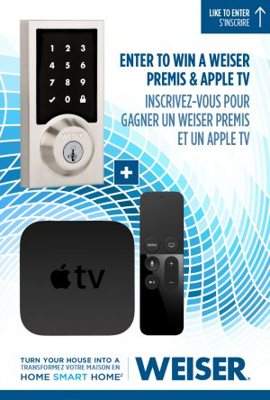 Weiser Premis – Win an electronic deadbolts Premis & an Apple TV valued at up to $499