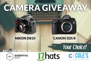 Cameragiveaways – Win Your Choice: brand new US model Nikon D810 OR Canon 5DS R Mark III valued up to $3,399
