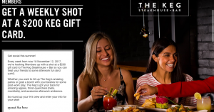 Virgin Mobile Canada – Keg-Size Night Out – Win 1 of 16 gift certificates to The Keg valued at $200 each