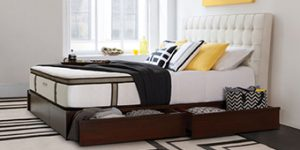 House Beautiful – Charles P. Rogers Bed – Win a Newhouse white leather platform bed with 4 drawers and Powercore Estate 5000 mattress valued at $9,197