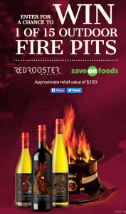 Red Rooster – Winery Fire Pit – Win 1 of 15 outdoor Fire Pits valued at $150 CAD each