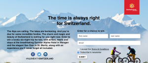 "Switzerland Tourism – ""Time for Switzerland"" – Win a 7-Day vacation in Switzerland valued at $5,000 USD"