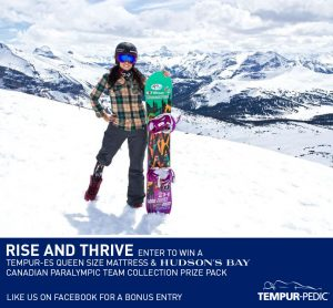 Tempur-Pedic – Win a Tempur-ES Exceed Queen Size Mattress & Hudson's Bay Company Paralympic Gift Pack