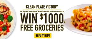 ConAgra Foods Canada – VH Clean Plate Victory Shopper Marketing – Win 1 of 6 gift cards valued at $1,000 CAD each