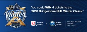 NHL Interactive CyberEnterprises – The 2018 Bridgestone NHL Winter Classic – Win 4 tickets to the Winter Classic in New York valued at $1,196