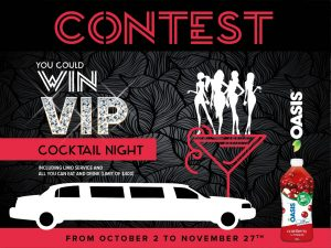 A. Lassonde – VIP Cocktail – Win 1 of 5 grand prizes of a VIP Cocktail Night valued at $600 CAD each
