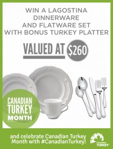 Canadian Turkey – Win a Lagostina dinnerware & Flatware set with bonus Turkey platter valued at $260
