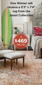 Elle Decor Loloi – Win a Rug from the Javari collection by Loloi valued at $469