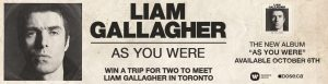 Obox Editions – Liam Gallagher – Win a trip for 2 to Toronto valued at $2,500 CAD