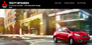 Tricity Mitsubishi – Flip to Win a Mitsubshi Mirage – Win a 2018 Mitsubishi Mirage ES 5 speed manual valued at $14,173 CDN