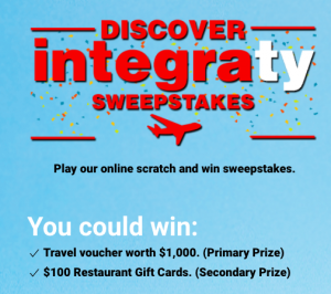 Integra Tire Auto Centre – Discover Integraty – Win a $1,000 travel voucher OR 1 of 29 restaurant gift cards valued at $100 each