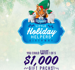 """Irving Consumer Products – ROYALE """"Little Holiday Helpers"""" – Win a of 5 pre-paid gift cards valued at $1,000 each"""